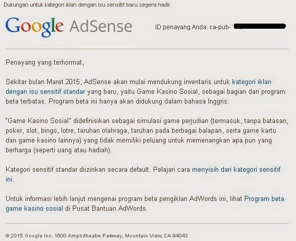 Kebijakan Baru Google AdSense